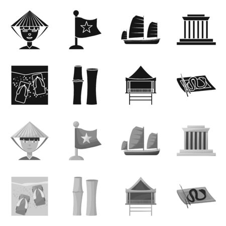 Isolated object of vietnam and traditional logo. Collection of vietnam and culture stock vector illustration.