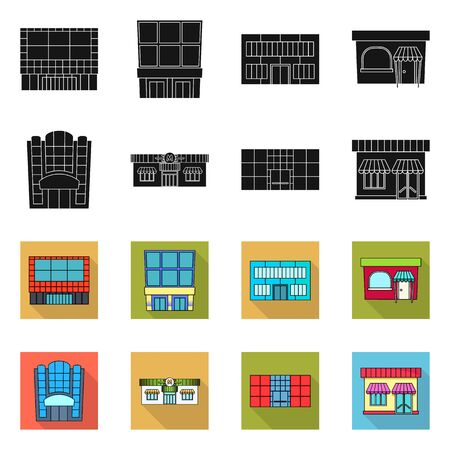 Vector design of supermarket and building logo. Collection of supermarket and local vector icon for stock.