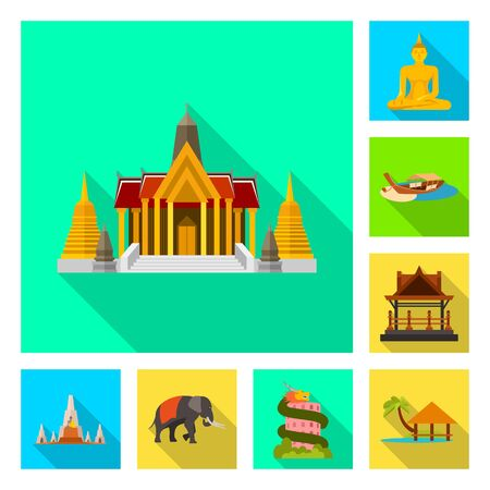 Vector illustration of journey and exotic symbol. Collection of journey and national vector icon for stock.
