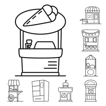 Vector design of vending and public symbol. Collection of vending and storefront stock vector illustration. Çizim