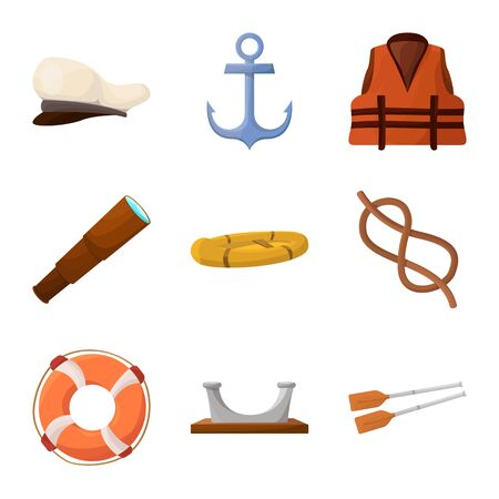 Isolated object of adventure and sea logo. Set of adventure and travel stock vector illustration. Vectores