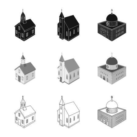 Vector illustration of temple and historic icon. Collection of temple and faith stock vector illustration.