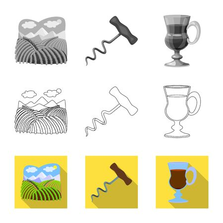 Isolated object of farm and vineyard symbol. Collection of farm and product stock vector illustration. Çizim