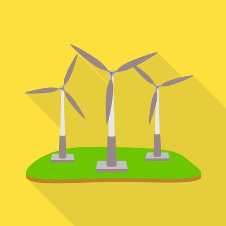 Vector illustration of windmill and wind symbol. Set of windmill and power vector icon for stock.