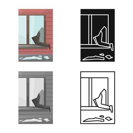 Vector design of broken and window symbol. Set of broken and security stock vector illustration.