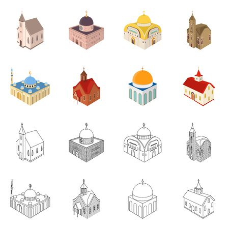 Vector illustration of temple and historic icon. Set of temple and faith vector icon for stock. Çizim