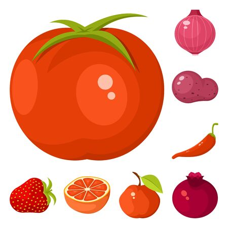 Vector design of vegetable and food symbol. Collection of vegetable and ripe vector icon for stock.