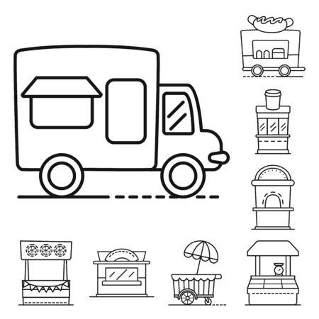 Vector design of vending and public icon. Collection of vending and storefront vector icon for stock. Çizim