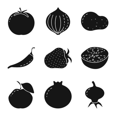 Vector illustration of vegetarian and organic symbol. Collection of vegetarian and food vector icon for stock.