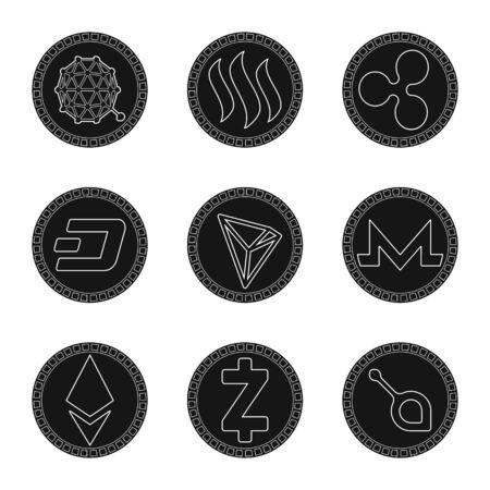 Vector design of e-commerce and economy icon. Set of e-commerce and bitcoin vector icon for stock. Foto de archivo - 130760201
