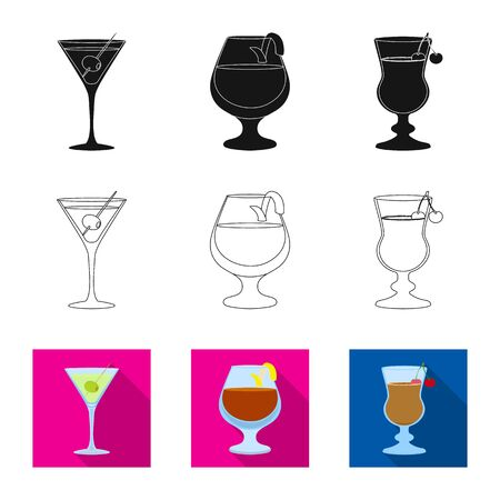 Isolated object of liquor and restaurant symbol. Collection of liquor and ingredient stock vector illustration. Ilustração