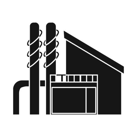 Vector design of factory and production sign. Collection of factory and pipe stock symbol for web. Foto de archivo - 130760329