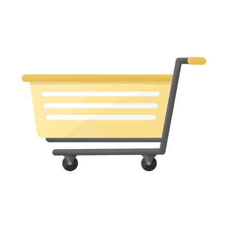 Vector design of trolley and basket symbol. Graphic of trolley and supermarket vector icon for stock.