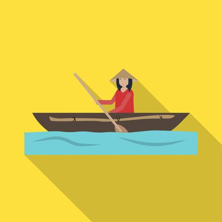 Vector design of boat and vietnamese symbol. Collection of boat and water stock vector illustration.