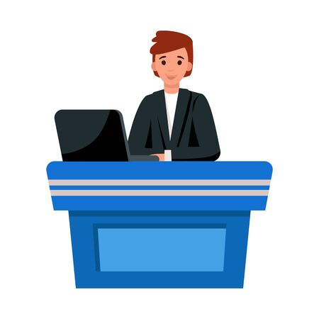Vector illustration of presenter and show sign. Graphic of presenter and man stock vector illustration. Ilustracja