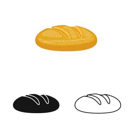Vector illustration of bread and loaf logo. Collection of bread and slice stock symbol for web.