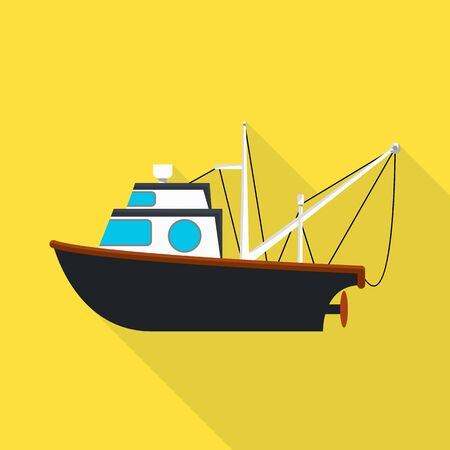 Isolated object of fishery and trawler icon. Collection of fishery and tug vector icon for stock.