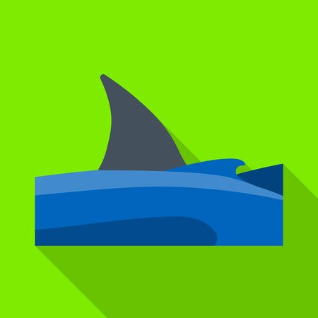 Vector design of sea and shark sign. Collection of sea and fin stock vector illustration.