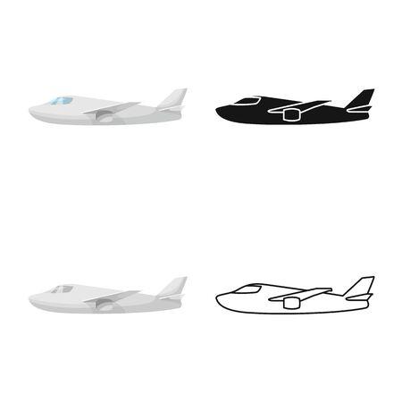 Vector illustration of plane and white logo. Set of plane and wing stock vector illustration.