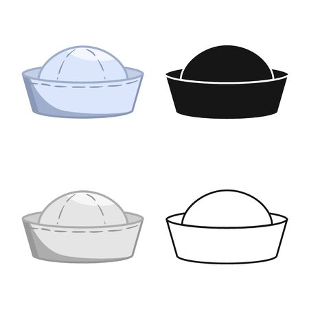 Vector illustration of hat and sailor sign. Set of hat and sea stock vector illustration. Çizim