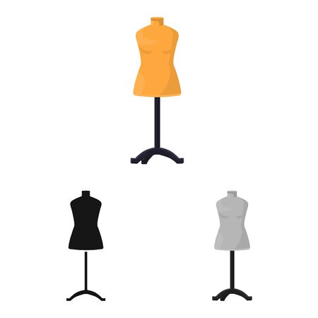 Vector illustration of dummy and female sign. Web element of dummy and rack stock symbol for web.