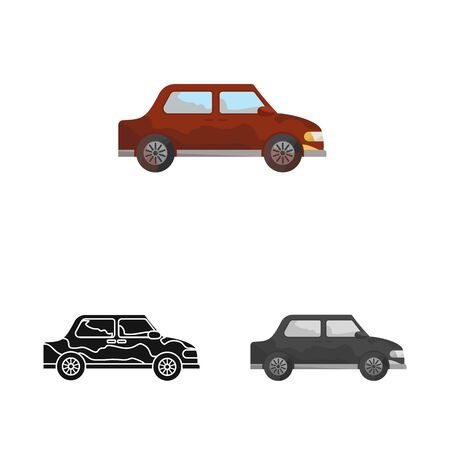 Isolated object of car and vehicle icon. Collection of car and clean stock symbol for web.