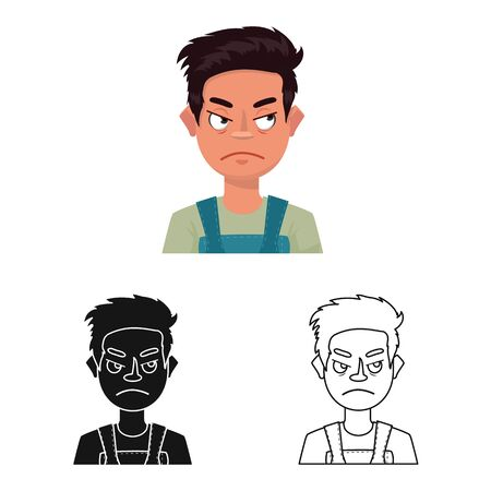 Vector design of guy and emotion symbol. Set of guy and features vector icon for stock. Ilustracja
