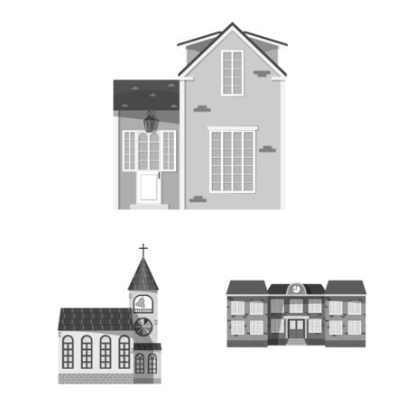 Vector design of building and front icon. Collection of building and roof stock vector illustration. Stock Illustratie