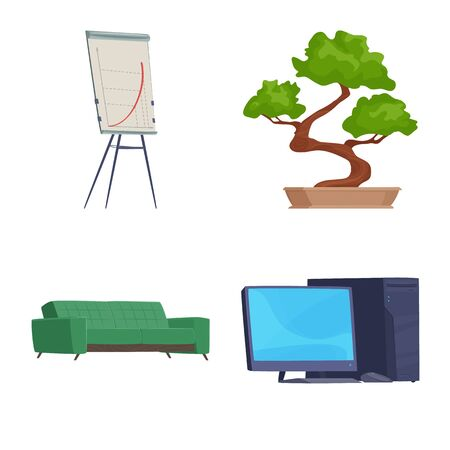 Vector design of furniture and work symbol. Collection of furniture and home vector icon for stock.