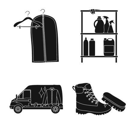 Vector illustration of laundry and clean logo. Set of laundry and clothes vector icon for stock. Stockfoto - 130759512