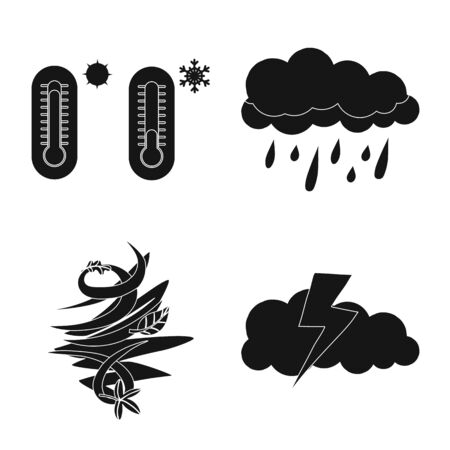Vector illustration of weather and climate sign. Collection of weather and cloud stock vector illustration.