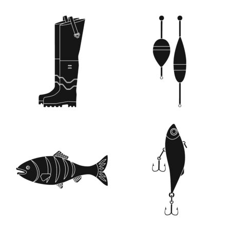 Isolated object of fish and fishing icon. Set of fish and equipment stock symbol for web.
