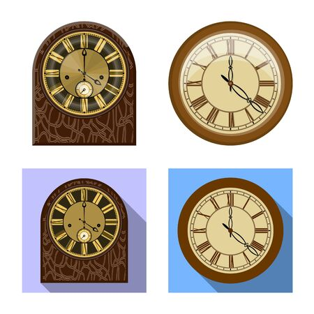 Isolated object of clock and time sign. Collection of clock and circle vector icon for stock. 向量圖像
