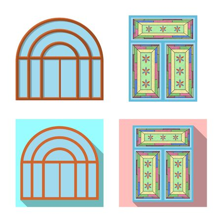 Isolated object of door and front icon. Collection of door and wooden stock vector illustration. Standard-Bild - 130759690