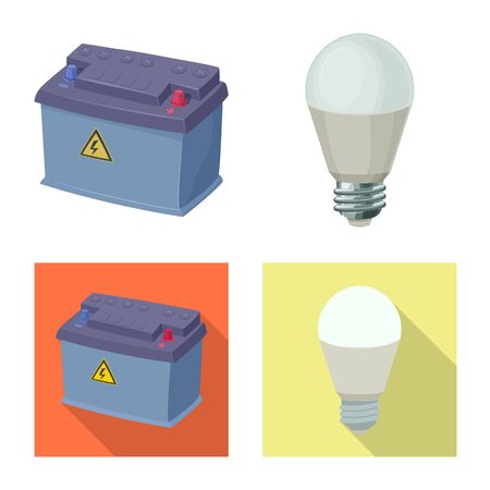 Isolated object of electricity and electric logo. Set of electricity and energy vector icon for stock.  イラスト・ベクター素材