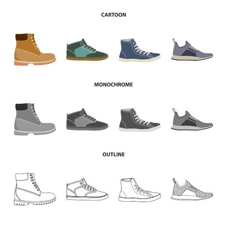 Vector design of shoe and footwear symbol. Collection of shoe and foot stock symbol for web. Çizim