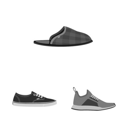 Vector design of shoe and footwear symbol. Set of shoe and foot vector icon for stock.