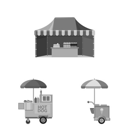 Vector design of market and exterior icon. Set of market and food stock symbol for web. Stock Illustratie