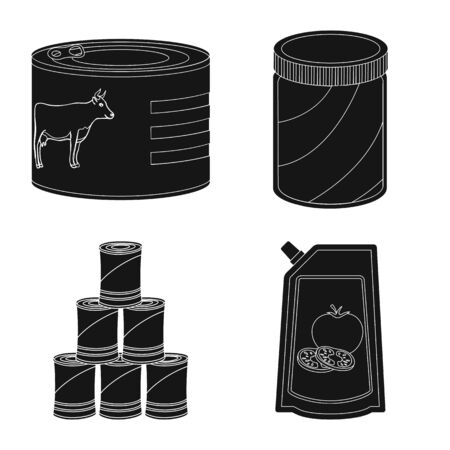 Vector design of can and food symbol. Collection of can and package vector icon for stock. Foto de archivo - 130760452
