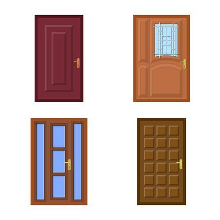 Vector design of door and front icon. Set of door and wooden stock vector illustration.