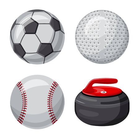 Illustrazione vettoriale di sport e segno di palla. Raccolta di sport e atletica simbolo azionario per il web.