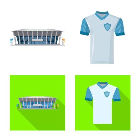 Vector illustration of soccer and gear sign. Set of soccer and tournament stock symbol for web. Ilustração