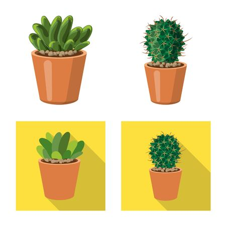 Vector design of cactus and pot logo. Set of cactus and cacti stock vector illustration.
