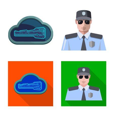 Vector illustration of virus and secure symbol. Collection of virus and cyber stock vector illustration. Çizim