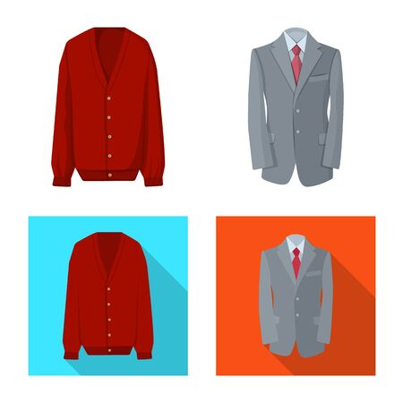 Vector illustration of man and clothing symbol. Set of man and wear vector icon for stock.