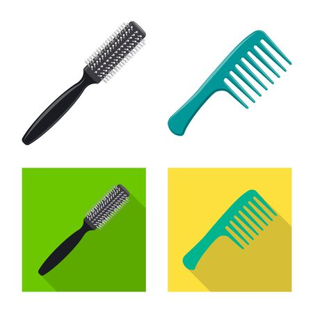 Isolated object of brush and hair symbol. Collection of brush and hairbrush stock vector illustration. Ilustracja
