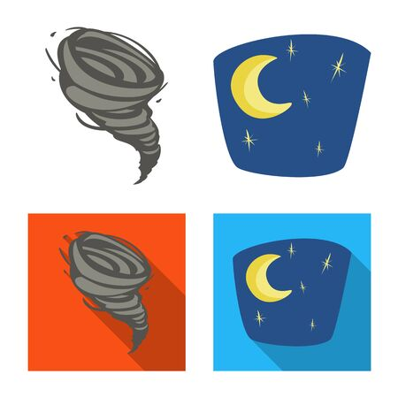 Vector illustration of weather and climate symbol. Set of weather and cloud stock symbol for web. Illustration