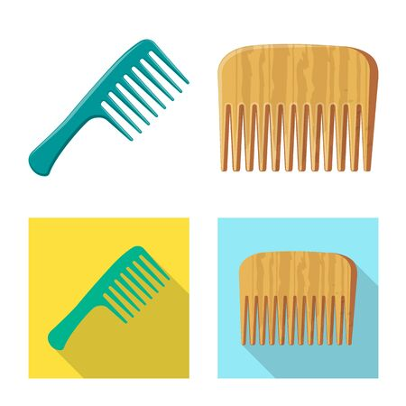 Isolated object of brush and hair logo. Set of brush and hairbrush vector icon for stock.