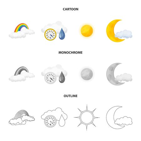 Vector design of weather and climate symbol. Collection of weather and cloud vector icon for stock. Ilustrace