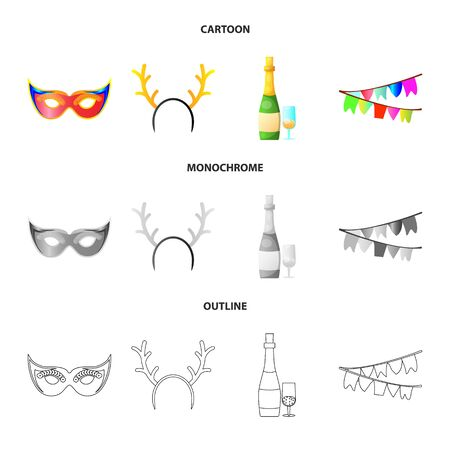 Isolated object of party and birthday symbol. Collection of party and celebration stock symbol for web. Stock Illustratie